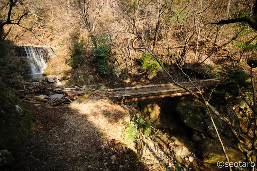 キャンプ場跡の不動尻にまで下りてきました。ここから広沢寺温泉方面へは舗装路になります。私は小橋を渡って、谷太郎川沿いに駐車場まで下ります。(2Dトラックログ – 20)